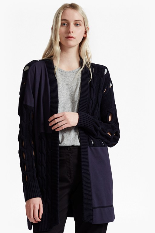 cable mix longline cardigan