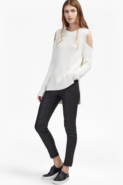cold shoulder knitted cotton jumper