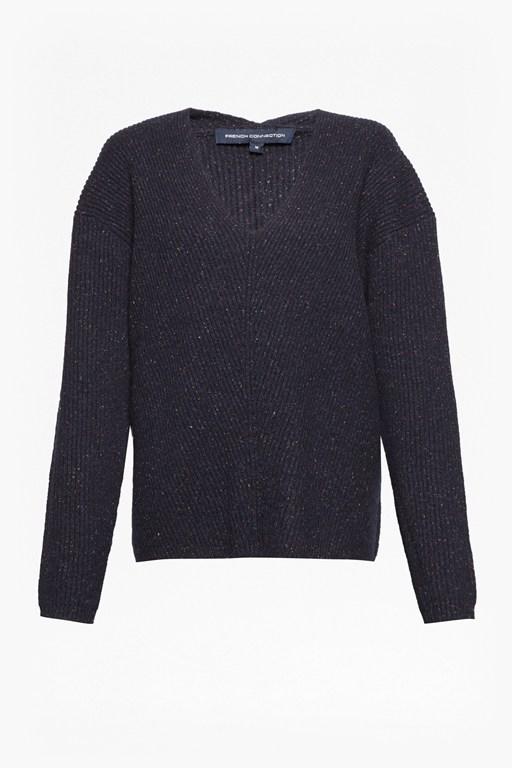 two tone tweed knit v neck jumper