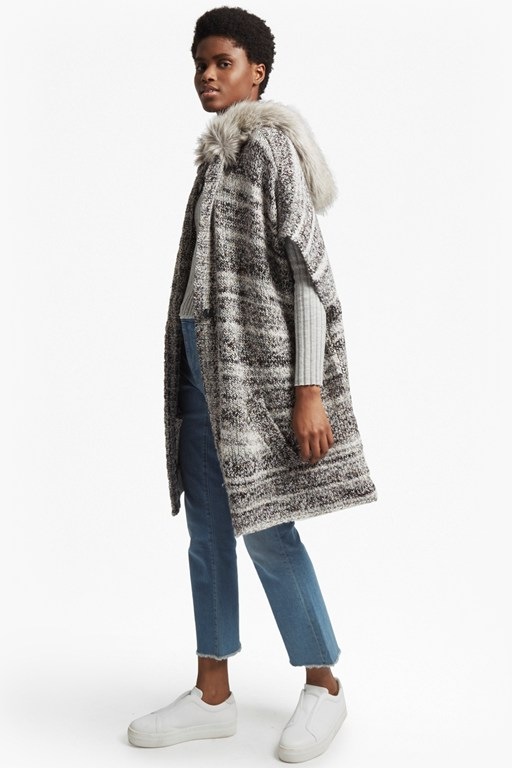 irma melange knit long sleeved cardigan coat