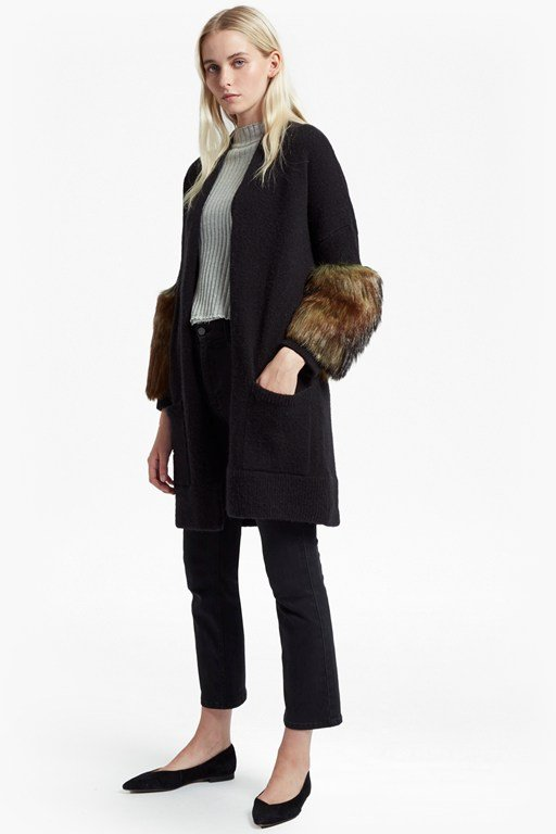 lilou faux fur sleeve trim cardigan