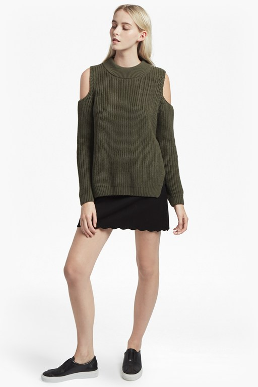 mozart cold shoulder long sleeved jumper