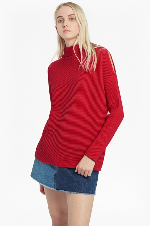 cold shoulder mozart ribbed jumper