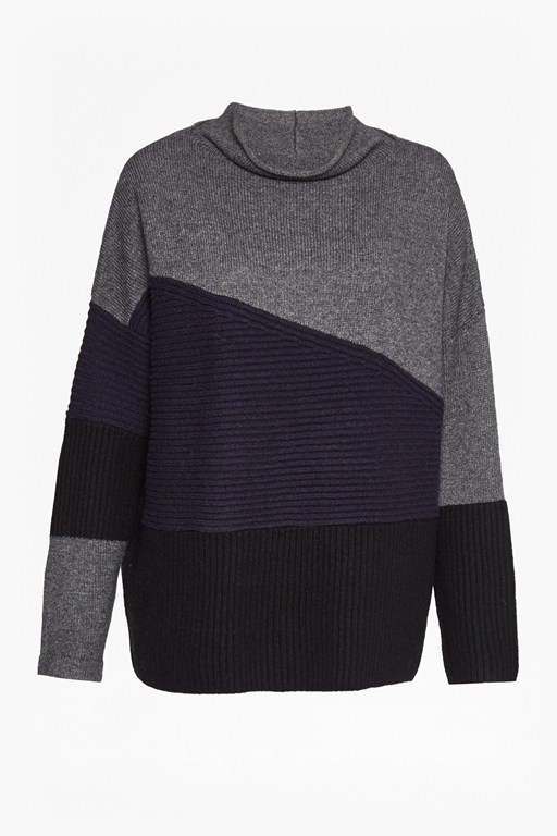 patchwork knits high neck jumper