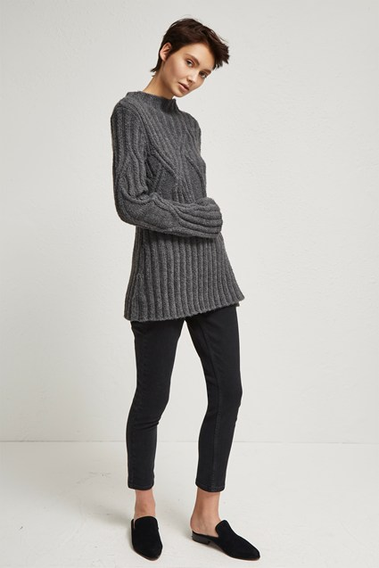 Twisted Cable Knit High Neck Jumper