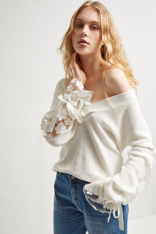 caballo lace knit v neck jumper
