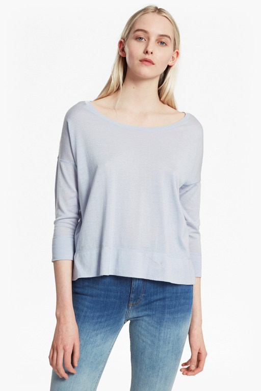 spring light scoop neck top