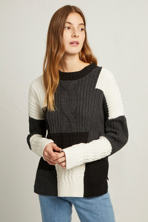 Complete the Look Amie Patch Knits Cable Jumper