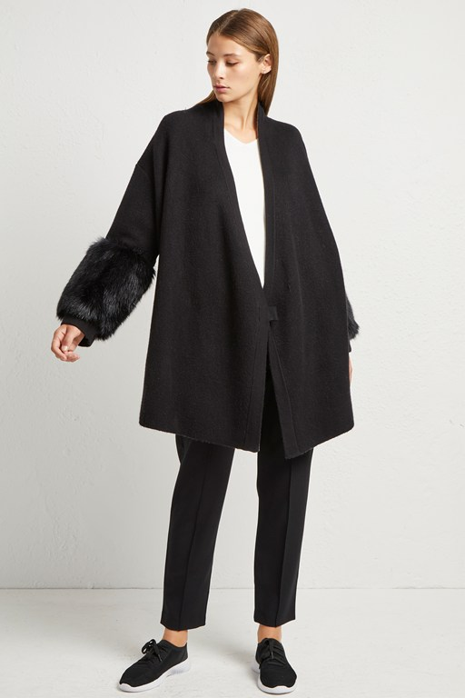 elaine faux fur knit cardigan