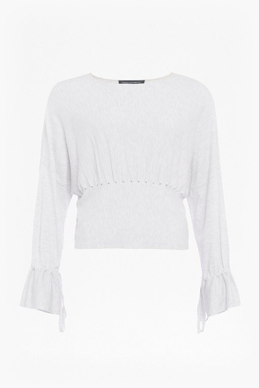 heather knit gathered waist jumper