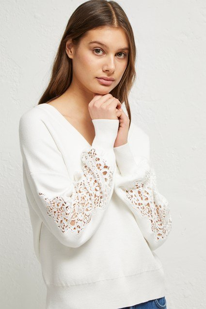 Severine Lace Knits Balloon Sleeve Jumper