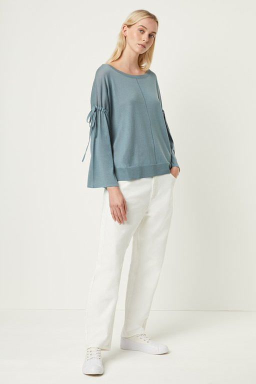 1302e27e3a6 spring light knitted tie sleeve jumper