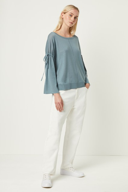 Spring Light Knitted Tie Sleeve Jumper