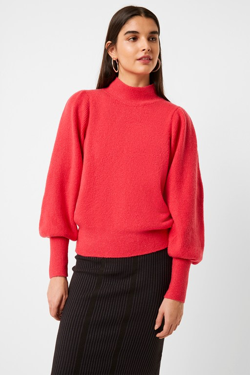 flossy puff sleeve high neck jumper