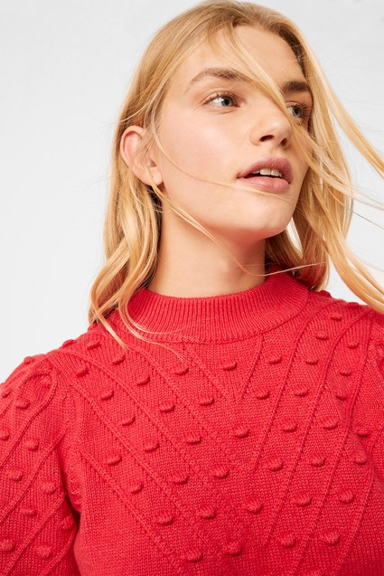 Cropped Bobble Balloon Sleeve Jumper