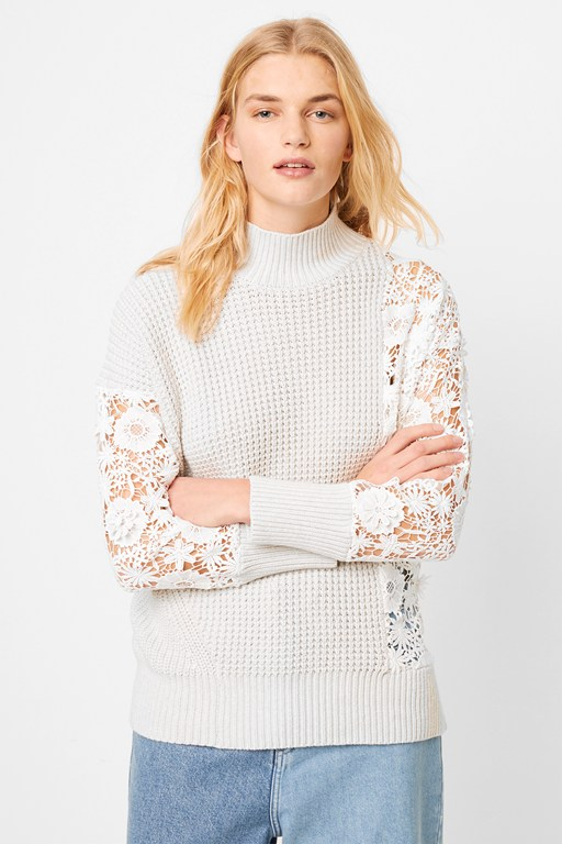 maha lace mix textured jumper
