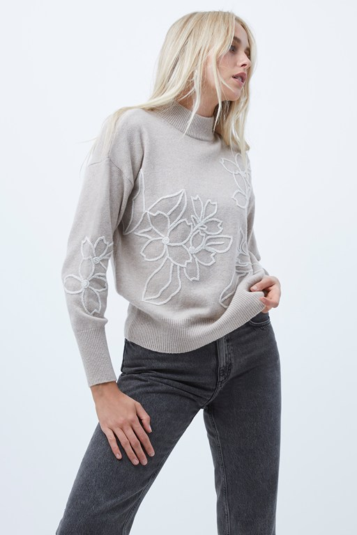lami flora embroidered knit jumper