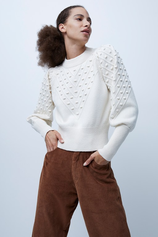 babysoft cropped bobble knit jumper