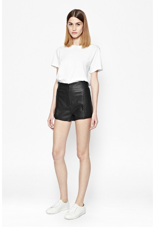 Jetson Faux-Leather Mini Shorts