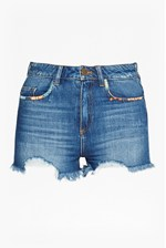 Looks Great With Rufaro Stitch Frayed Denim Shorts