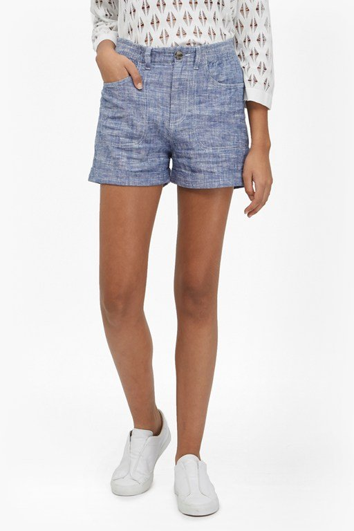hatched linen shorts