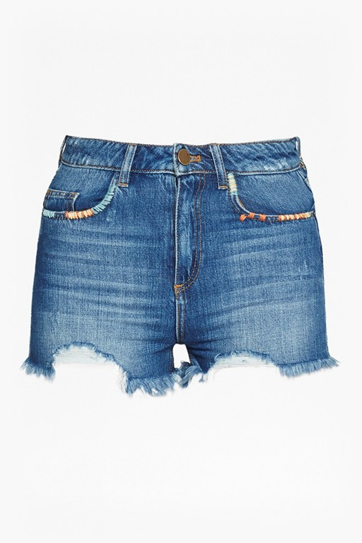 Complete the Look Rufaro Stitch Frayed Denim Shorts