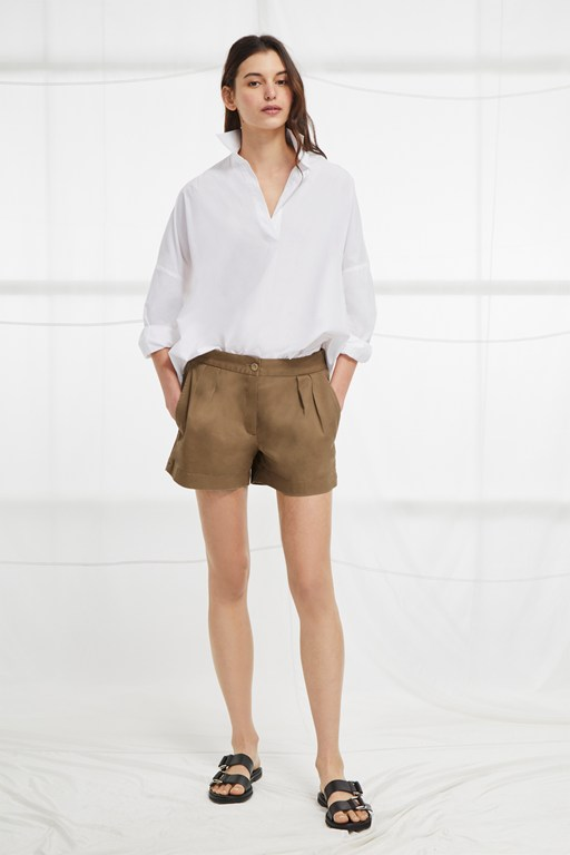 collman cotton pleat front shorts