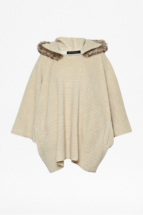 Poppy Faux Fur Hooded Poncho