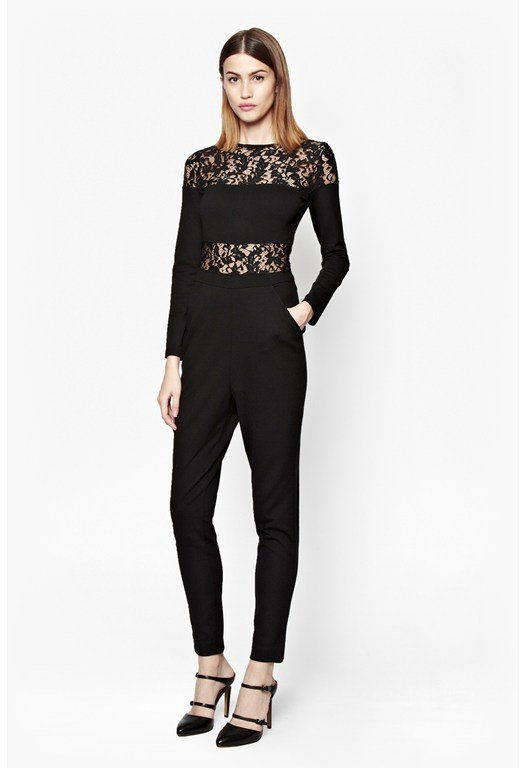 Linear Lace Stretch Jersey Jumpsuit