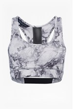 Looks Great With Comfort Stretch Marble Print Performance Sports Bra