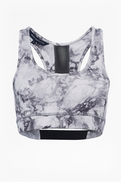 Complete the Look Comfort Stretch Marble Print Performance Sports Bra