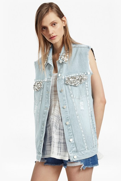 Essien Embellished Sleeveless Denim Jacket