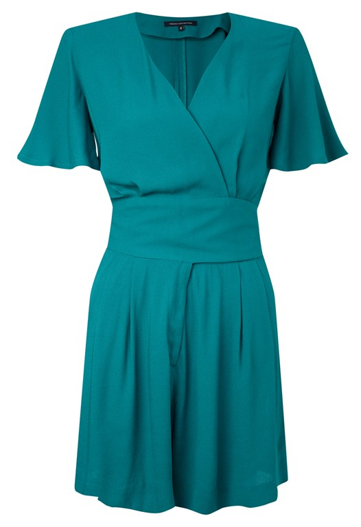 French Connection Short Crepe Jumpsuit Green