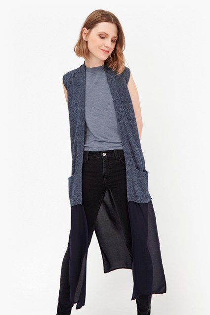 Emma Marl Long Sleeveless Cardigan