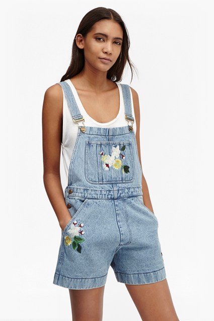 Dionne Denim Embroidered Dungarees