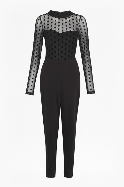 lea mesh jersey high neck jumpsuit
