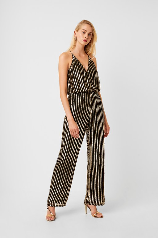 celina sequin striped jumpsuit