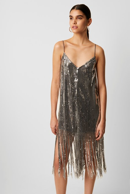 Gugu Sparkle Strappy Fringe Jumpsuit by French Connection