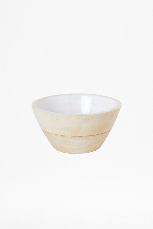 Complete the Look Cloud White Small Wooden Bowl