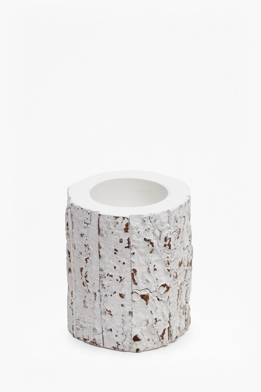 white bark candle holder