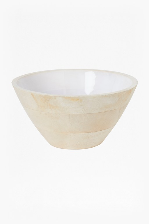 Complete the Look Cloud White Large Wooden Bowl