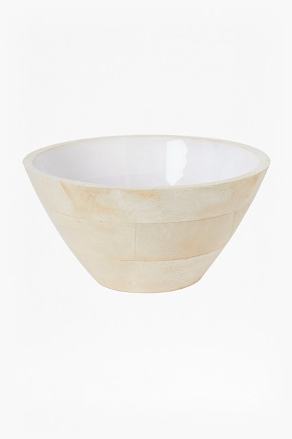 Cloud White Large Wooden Bowl