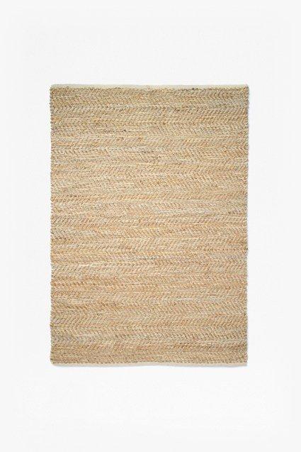 Image For Jute And Leather Rug - Natural And Grey