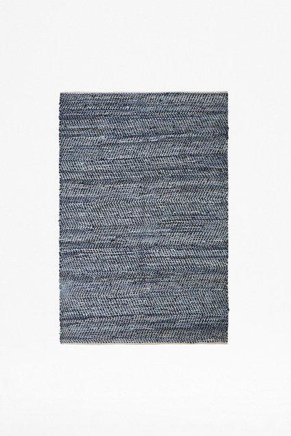 Sea Storm Recycled Denim & Leather Rug