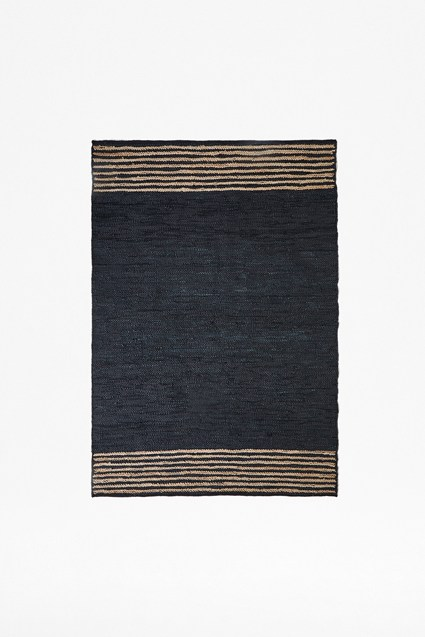Midnight Hemp Leather Rug