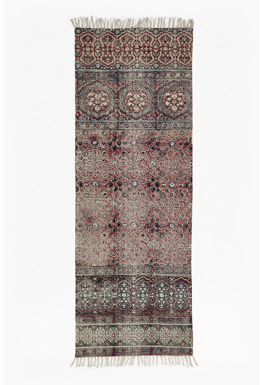 Burgundy Tile Printed Runner