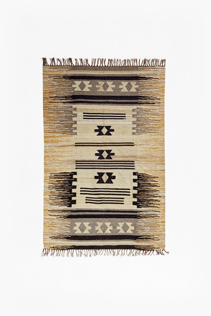 Ochre & Grey Striped Aztec Rug