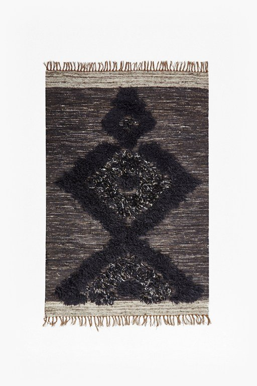 dark grey aztec patterned rug