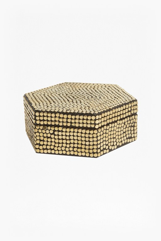 gold studded hex box