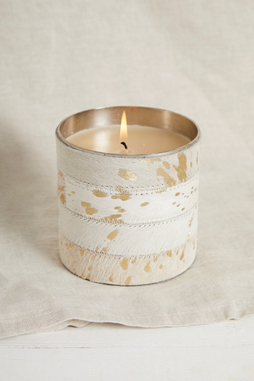 cowhide candle large